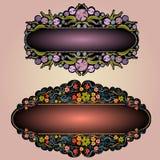 Achtergrond van het de banneretiket van de bloem de violette luxe Stock Fotografie