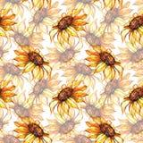 Achtergrond van het de bloem naadloze patroon van de waterverf de gele zonnebloem Stock Fotografie