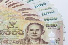 achtergrond van het de close-uppatroon van 1000 bad de Thaise bankbiljetten bankbiljet Stock Fotografie