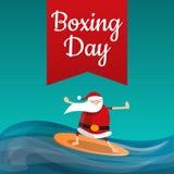 Achtergrond van het de dagconcept van de Kerstman de in dozen doende, beeldverhaalstijl vector illustratie