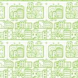 Achtergrond van het de straten de naadloze patroon van de krabbelstad Stock Afbeelding
