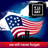 Achtergrond van het de vlagconcept van de patriotdag de Amerikaanse, beeldverhaalstijl stock illustratie