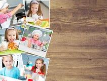 Achtergrond van het foto'smeisje op de keuken Royalty-vrije Stock Foto's