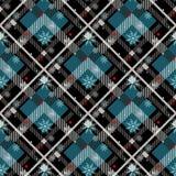 Achtergrond van het geruit Schots wollen stof de naadloze patroon Rode, Zwarte, Blauwe, Beige en Witte Plaid met sneeuwvlok, het  royalty-vrije illustratie