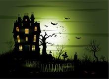 Achtergrond van het Greeny de Halloween achtervolgde herenhuis Royalty-vrije Stock Afbeeldingen