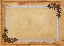 Achtergrond van het Kant van het perkament de Bloemen Stock Foto's
