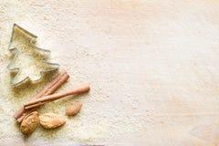 Achtergrond van het Kerstmis de abstracte voedsel met bruine suiker en sierlijk royalty-vrije stock fotografie