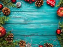 Achtergrond van het Kerstmis de donkergroene kader Royalty-vrije Stock Foto's