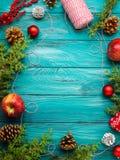Achtergrond van het Kerstmis de donkergroene kader Royalty-vrije Stock Fotografie