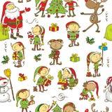 Achtergrond van het Kerstmis de naadloze patroon - Illustratie Stock Fotografie