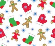 Achtergrond van het Kerstmis de nieuwe jaar, naadloos patroon Peperkoeken, vuisthandschoen, kous en sneeuwvlok Vector Royalty-vrije Stock Afbeeldingen