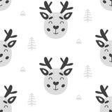 Achtergrond van het kinderdagverblijf de Kinderachtige Naadloze Patroon met Deers Stock Afbeeldingen