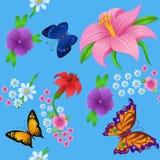Achtergrond van het kleurrijke vlinders vliegen Royalty-vrije Stock Foto