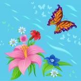 Achtergrond van het kleurrijke vlinders vliegen Royalty-vrije Stock Foto's