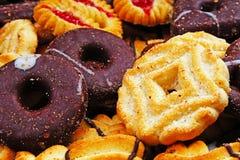 Achtergrond van het koekjes de zoete koekje craker Het binnenlandse gestapelde boterconcept van het koekjespatroon De dichte omho stock afbeeldingen