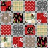 Achtergrond van het lapwerk de naadloze patroon met decoratieve elementen Royalty-vrije Stock Fotografie