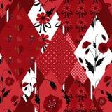 Achtergrond van het lapwerk de wilde bloemen naadloze patroon stock illustratie