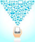 Achtergrond van het Netwerk van de telefoon de Sociale van de pictogrammen Royalty-vrije Stock Afbeeldingen