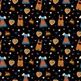 Achtergrond van het Oktoberfest de naadloze vectorpatroon stock illustratie