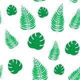 Achtergrond van het palmblad de naadloze patroon Behang van het strand het naadloze patroon van tropische bladeren van palmen Vec stock illustratie