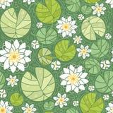 Achtergrond van het water lillies de naadloze patroon vector illustratie