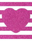 Achtergrond van horizontale glittery roze strepen met een groot hart Stock Afbeeldingen
