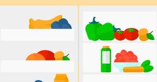Achtergrond van ijskasthoogtepunt van vruchten en groenten Royalty-vrije Stock Foto