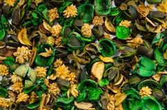 Achtergrond van inhoud van aromatisch sachet van gekleurd droog deel Royalty-vrije Stock Afbeeldingen