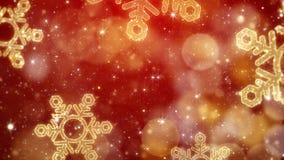 Achtergrond van Kerstmis de gouden sneeuwvlokken met het schitteren bokeh, rood thema stock afbeelding
