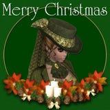 Achtergrond van Kerstmis van de Victoriaanse Vrouw de Vrolijke Royalty-vrije Stock Foto