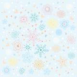Achtergrond van multi-colored sneeuwvlokken en het klopje Royalty-vrije Stock Foto's