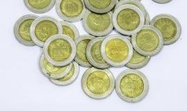Achtergrond van muntstukken de Thaise Baht Stock Afbeelding