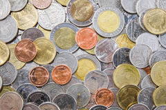Achtergrond van muntstukken van Thailand Stock Foto's