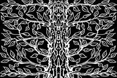Achtergrond van oude boom Zwarte witte boom als achtergrond Vector illustratie Royalty-vrije Stock Afbeelding
