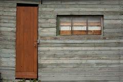 Achtergrond van oude muur met venster en deur Stock Foto