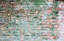 Achtergrond van oude uitstekende vuile bakstenen muur met schilpleister Stock Afbeeldingen