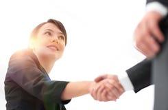 Achtergrond van partnershandenschudden Close-up Stock Fotografie