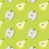 Achtergrond van peren en appelen Stock Foto