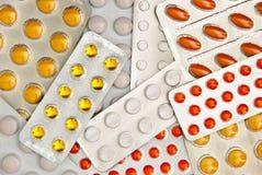 Achtergrond van pillen Stock Foto's