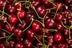Achtergrond van rijpe rode kersen Het gezonde Eten De textuur van bessen royalty-vrije stock afbeeldingen