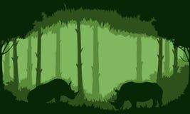 Achtergrond van Rinocerossen in het bos stock illustratie