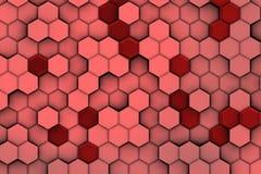 Achtergrond van roodachtige zeshoeken met hulp en schaduwen, Stock Foto