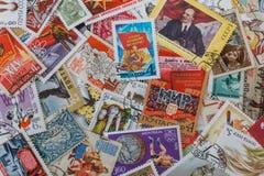 Achtergrond van sovjetpostzegels royalty-vrije stock foto