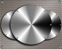 Achtergrond van staalschijven op een metaalnet stock illustratie