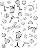 Achtergrond van toebehoren voor knipsel en het naaien Stock Afbeeldingen