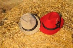 Achtergrond van twee hoeden op hooiberg Stock Foto's