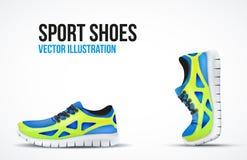 Achtergrond van Twee Loopschoenen Heldere Sport Stock Fotografie