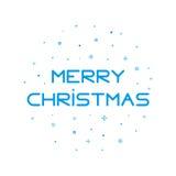 Achtergrond van type de Vrolijke Kerstmis met sneeuwvlokken in overzichtsstijl Royalty-vrije Stock Afbeeldingen