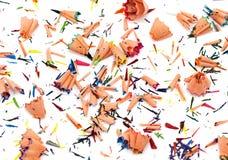 Achtergrond van veelkleurige potloodspaanders stock afbeelding