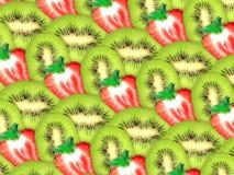 Achtergrond van verse kiwi en aardbeiplakken Stock Afbeeldingen